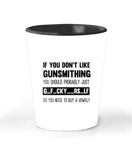 Funny Gunsmithing Gift 1.5 oz Shot Glass - Unique Novelty Ceramic Cup For Adults - Christmas Birthday Present For Men And Women