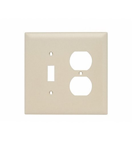 Legrand - Pass & Seymour TPJ18ICC10 Trade Master Jumbo Combination Wall Plate With One Toggle Switch/One Duplex Opening, Two Gang , Ivory