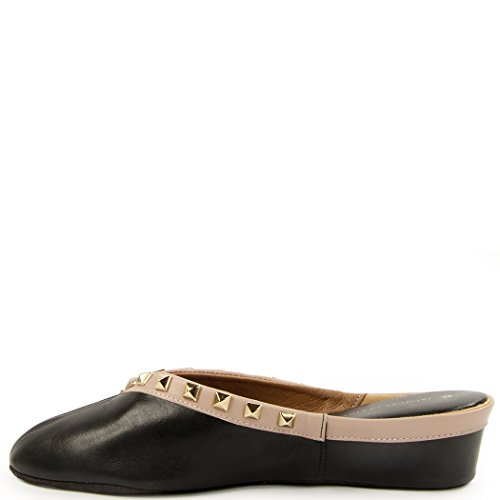 Women's Jacques Leather Pyramid Wedge Slipper Levine Black Nude Stud rqHHSXf