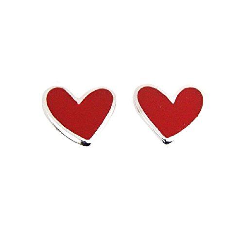 Agatha Ruiz de la Prada Sterling Silver red enamel heart post earrings.