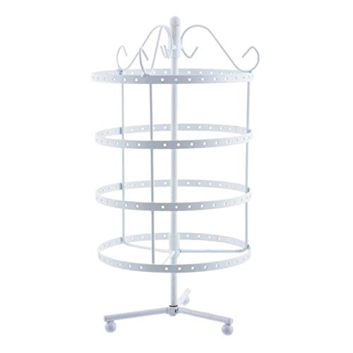 Rainbowie Jewelry Organizer 4 Tiers Rotary Necklace Display Stand Rack 144 Pairs Earring Organizer Bracelets Rings Watches Holder-White(31x16cms)(12.2x6.3inchs)