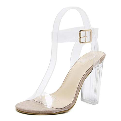 Sheep 2019 PVC Jelly Sandals Crystal Leopard Open Toed High Heels Women Transparent Heel Sandals Slippers Pumps Size 41 42,Apricot-Flock,8