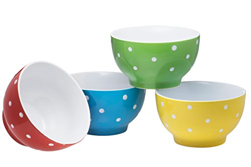 - Everyday Ceramic Bowls - Cereal, Soup, Ice Cream, Salad, Pasta, Fruit, 20 oz. Set of 4, By Bruntmor (Polka Dot)