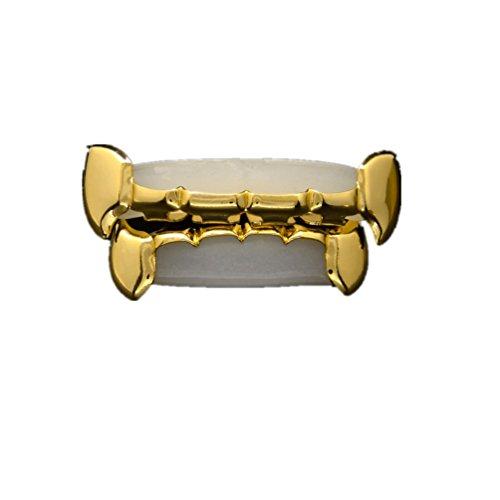 Hip Hop Half Teeth Golden Top & Bottom Dental Decorations Clear Bottoms Grillz