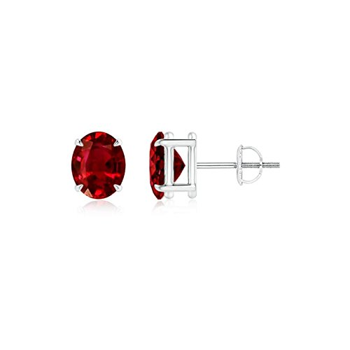 Angara Ruby Studs in Platinum QIYE2IIj