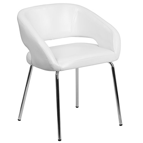 Flash Furniture Fusion Series Contemporary White Leather Side Reception Chair (Leather Faux Reception)