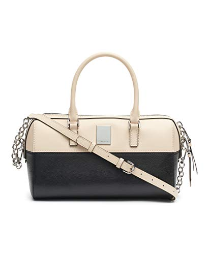(Calvin Klein Tonya Calf Leather Satchel, Sand/Black)