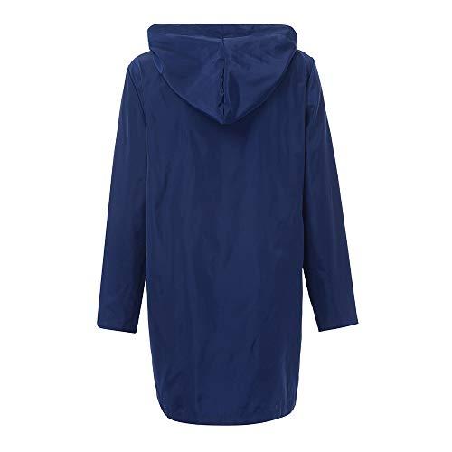 De Sport Femme Parka Respirant Léger Capuche Imperméable Blouson À Veste Uni Casual Bleu Boutons twI8fqHd