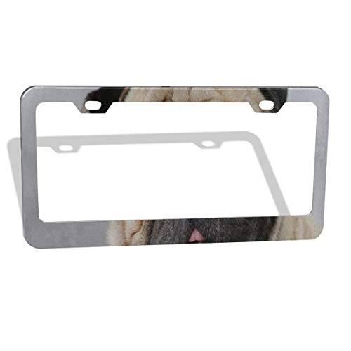 Love beautiful Cute Puppy Dog Pug License Plate Frame for Women/Girls, Aluminum Metal Car Custom Licenses Plate Cover for Both Front and Back License Tag 2 Holes/2 Piece 12