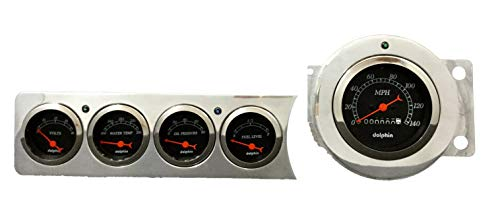 Dolphin Gauges 1941 1942 1943 1944 1945 1946 1947 1948 Chevy Car 5 Gauge Dash Cluster Panel Set Mechanical -