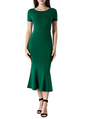 Jewel Modern Vintage Womens - VFSHOW Womens Green Elegant Vintage Cocktail Party Bodycon Mermaid Midi Mid-Calf Dress 2829 GRN M
