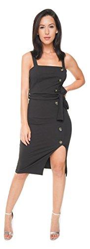 Momo&Ayat Fashions Ladies Mock Button Detail Belted Strap Bodycon Midi Dress UK Size 2-10 (Black, US 8(UK 12)) from Momo&Ayat Fashions