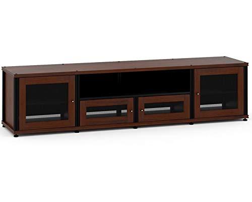 Salamander Designs 245W/B Quad-Width Audio Video Cabinet, Walnut with Black Posts ()