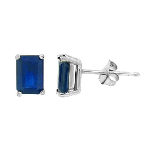 Emerald Cut Blue Sapphire (Emerald Cut Genuine Sapphire Stud Earrings,14Kt White)