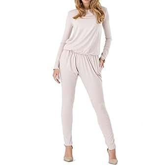 Toogoo(r)women Rompers Long Sleeve Side Pockets Elastic Waist Rompers Beige Xl