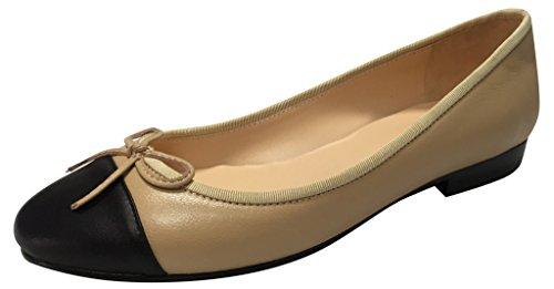 Two Tone Lamb (Kaitlyn Pan Genuine Lambskin Black Matte/Two Tone Ballet Flats)