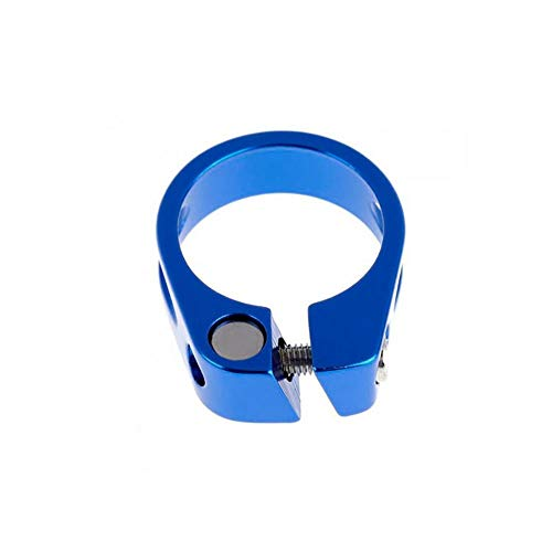 Dilwe Bike Seat Post Clamp, Metal Ultralight Bicycle Lock Seat Clamp Cycling Part Seatpost Clip(31.8mm-Blue) ()