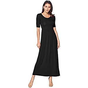 82 Days Women's Casual 3/4 Sleeve Long Maxi Dress with Elastic Waist Made in USA