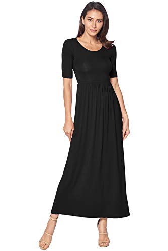 Petite Elbow - 82 Days Women's Casual 3/4 Sleeve Long Maxi Dress with Elastic Waist Made in USA - Black XL