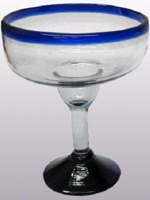 Mexican Blown Glass Large Margarita Glasses Cobalt Blue Rim (Set of 6) MexHandcraft