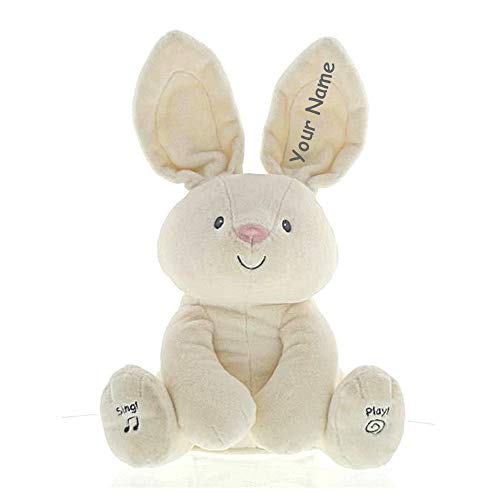 Personalized Flora The Animated Bunny Rabbit Activity Singing Plush Stuffed Animal Toy for Baby Boy or Baby Girl with Custom Name - 12 Inches