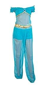 Emmas Wardrobe - Disfraz de princesa Jasmine que incluye pantalones color azul, pantalones cortos color azul y parte superior color azul, talla 34 - 40