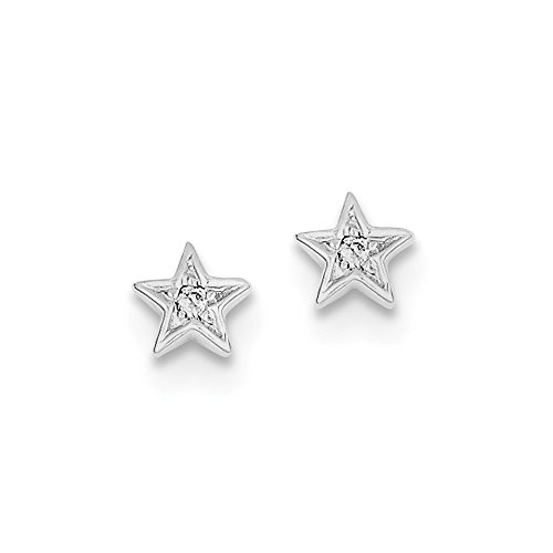 FB Jewels Solid Sterling Silver Rhodium Diamond Star Post Earrings