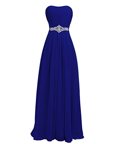 FAIRY COUPLE Women's Strapless Lace-up Corset Back Maxi Long Evening Prom Dresses D004 US12 Sapphire Blue