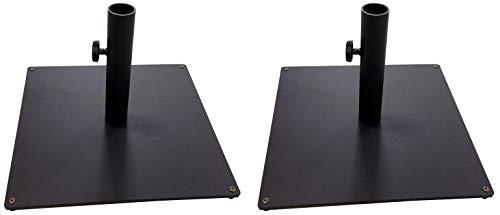 Tropishade Steel Plate Umbrella Base, 36 lbs, Black (Pack of 2) ()