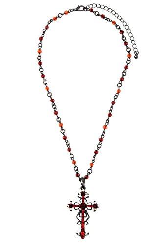 Rhinestone Cross Hematite (GlitZ Finery Rhinestone Cross Accent Pendant Bead Necklace (Hematite/Red))