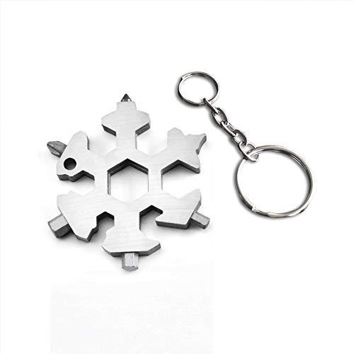 Snowflake Keychain Backpack 19 in 1 Multi-Tool Indoor Outdoor Adventure Tool (Stainless Steel) (White) (Best Lightweight Multi Tool)