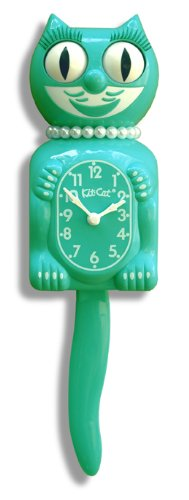 "Emerald Green Lady Kit-Cat 15.5"" Clock"