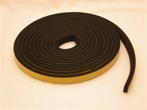 Rubber-Stuff Neoprene Rubber Self Adhesive Strip 15MM Wide X 6MM Thick X 5M Long (Black With Yellow Backing Tape)