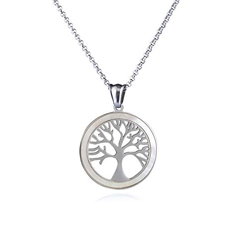 Love Explosion Stainless Steel Round Pendant Necklace for Women and Men Religious Engraved Medallion Beautiful Tree of Life Pattern Jewelry with Adjustable Chain