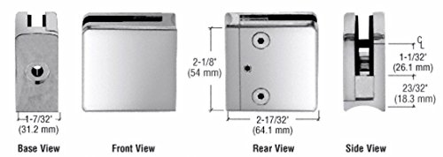(OKSLO CRL Polished Stainless Z-Series Square Type Radius Base Stainless Steel Clamp fo)