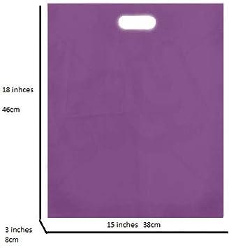 Uk Store 247 - Bolsas grandes de plástico, para regalo, tienda o compras, 38 x 46 x 8 cm, color morado, plástico, morado, 15 x 18 x 3 Inches