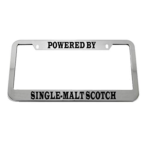 (Speedy Pros Powered by Single-Malt Scotch Zinc Metal License Plate Frame Car Auto Tag Holder - Chrome 2 Holes)