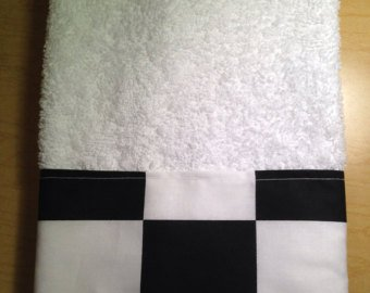 New HandMade Nascar black white Checkered Flag Guest Hand Towel cute (Checkered Kitchen)