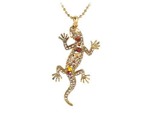 Golden Tone Synthetic Topaz Crystal Rhinestone Lizard Salamander Reptile Pendant Necklace