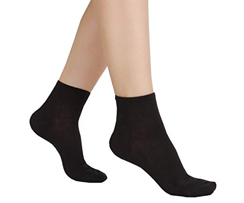 (6 Pair Women's Super Thin Cotton Summer Ankle Dress Socks-blackS)