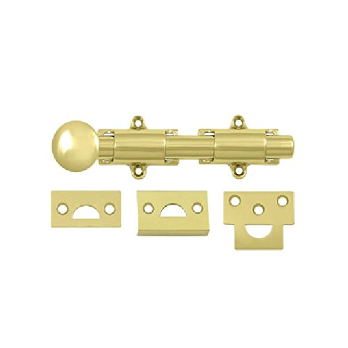 Deltana 6SB3 HD Solid Brass 6-Inch Surface Bolt