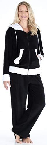 Frankie & Johnny Women's Sleepwear Fleece 2-Piece Zip Hoodie and Pant Pajamas PJ Set, Black (FJ1145-1011-XL)