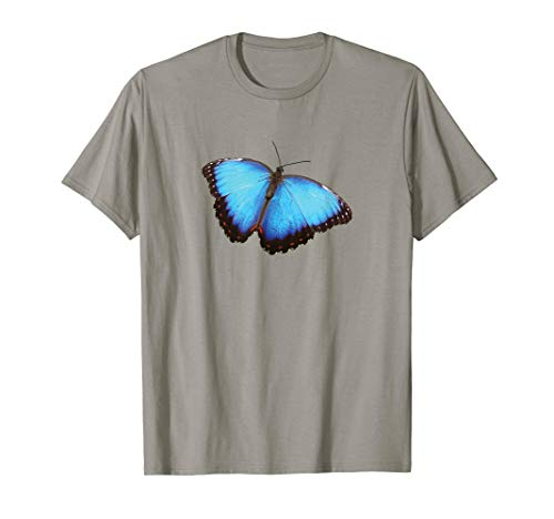 Blue Morpho Butterfly Insect Moth Nature's Beauty T-Shirt (White Blue Butterfly T-shirt)