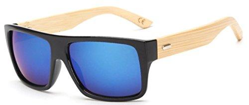 FENGJI Wooden Bamboo Sunglasses Temples Classic Aviator Retro Square Unisex Sun glasses Length 150mm - Bamboo Arms Sunglasses