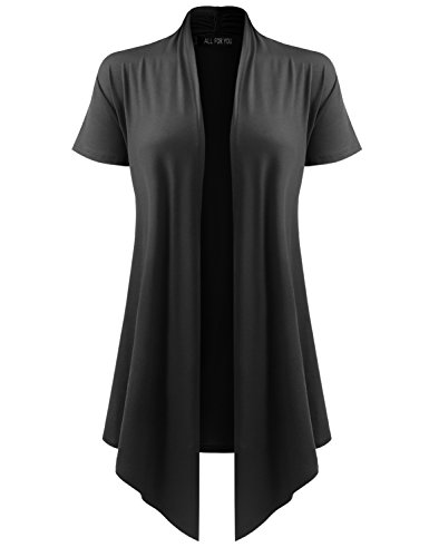 ALL FOR YOU Women's Soft Drape Cardigan Short Sleeve Black X-Large