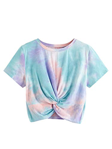 SweatyRocks Women's Twist Front Tie Dye Short Sleeve Crop Top T-Shirt Multicolor #2 ()