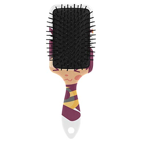 Honey Bee Eating From The Bucket Hair Brush Massage Scalp Plastic Hairbrush Detangler Vented Nylon Pins Air Cushion Tickling Comb Anti Static & Frizz, Touch Paddle Brush for Thick Curly Wet Dry Hair ()