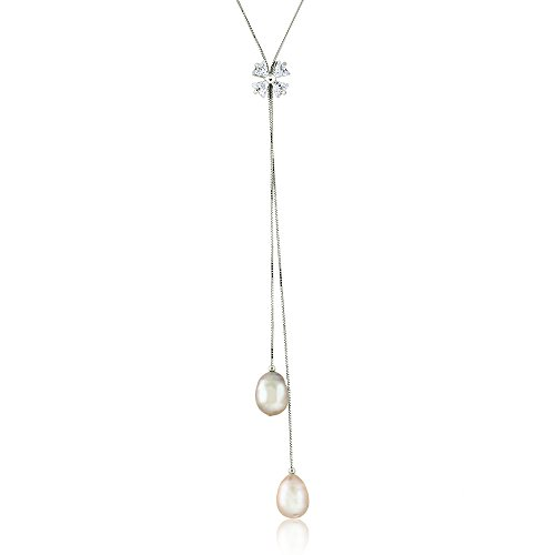 Gem Stone King 34.6inches 10-11mm Cultured Freshwater Pearl and Lariat Charm Necklace