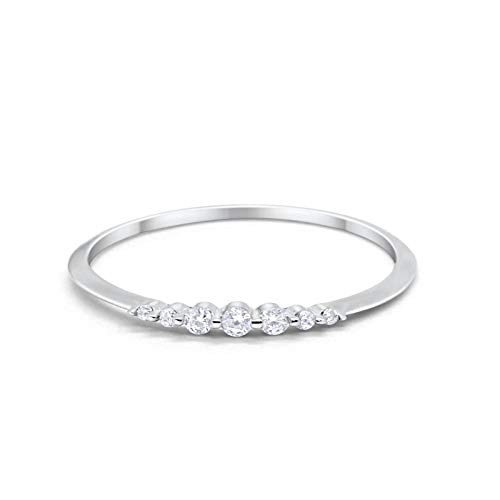 Blue Apple Co. Thin Half Eternity Wedding 2mm Band Ring Round Simulated Cubic Zirconia 925 Sterling Silver Size-7