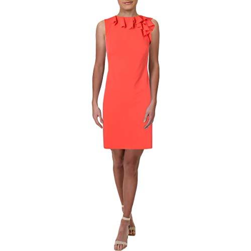 LAUREN RALPH LAUREN Womens Sleeveless Ruffled Wear to Work Dress Orange 8